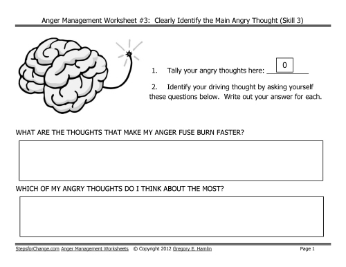 Free Download Link for Third in Series of Anger Management Worksheets – Anger Management Skills Worksheets