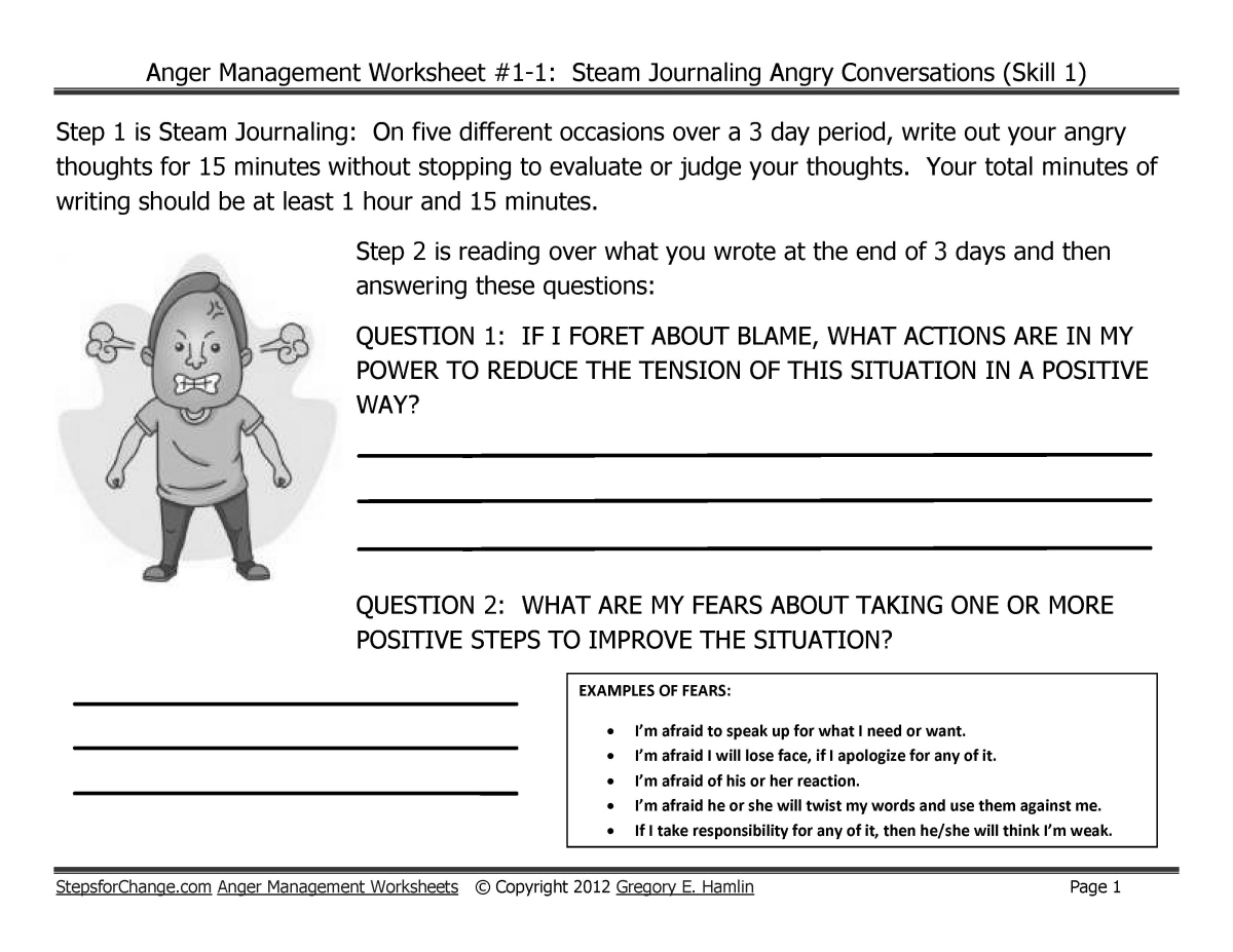 Skill 1 Anger Management Techniques and Worksheets Steam Journaling – Anger Management Skills Worksheets