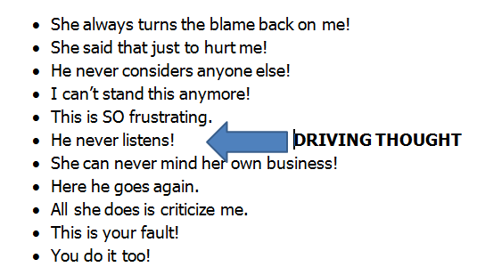 Anger Management Worksheet #3:  Driving Thought is One of the Secrets to Anger Control
